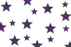 Mosaic Stars. Purple and dark green mosaic stars on a White background Stock Photos