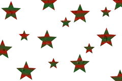 Mosaic Stars. Red and dark green mosaic stars on a White background Stock Photos