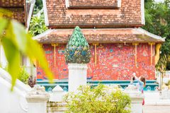 Mosaic statue of lotus in Louangphabang, Laos. Copy space for text. stock photography