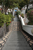 Mosaic steps. A lanzarote steps down to the beach stock photo