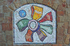 Mosaic on Stone Wall. Multicolored Mosaic on Stone Wall Royalty Free Stock Photo