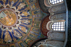 Mosaic and stuccoes of the neoniano Baptistery. Ceiling Mosaic and wall stuccoes of the neoniano Baptistery. It was erected by Bishop Ursus at the end of the 4th Royalty Free Stock Images