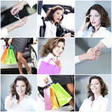 Mosaic successful smile woman with car Royalty Free Stock Photos