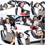 Mosaic successful woman with car and gift Stock Photo