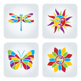 Mosaic Summer icons. Set of 4 vector multicolor summer icons royalty free illustration