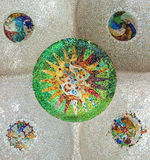 Mosaic sun at Guell Park Royalty Free Stock Photo