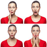 Mosaic of the surprised or shocked girl with freckles and red t-shirt with four different amazed emotions. Royalty Free Stock Image