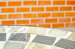 Mosaic table stone at coffee shop in garden Stock Image