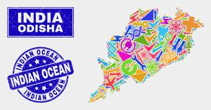 Mosaic Technology Odisha State Map and Scratched Indian Ocean Seal stock illustration