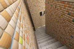 Mosaic texture wall with stairs Royalty Free Stock Image