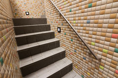 Mosaic texture wall with stairs Stock Photography