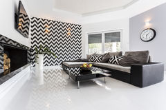 Mosaic theme on the wall in living room Royalty Free Stock Photos