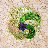 Mosaic tile ceramic decoration of ceiling in Guell park, Narcel Stock Photos