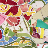 Mosaic tile, decoration, broken glass, Park Guell, Barcelona, Sp stock photo