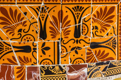 Mosaic tile, decoration, broken glass, Park Guell, Barcelona, Sp Stock Photo