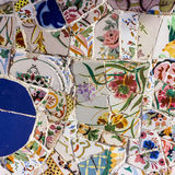 Mosaic tile decoration, broken glass, Park Guell, Barcelona, Sp Stock Photography