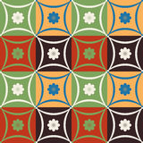 Mosaic tile flower pattern with geometric shapes Royalty Free Stock Image