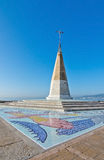 Mosaic tile pattern. PALMA, BALEARIC ISLANDS, SPAIN - DECEMBER 22, 2015: Mosaic tile pattern and tower on a sunny day on December 22, 2015 in Ciudad Jardin Royalty Free Stock Image