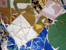 Mosaic tile pieces. In Guell park in Barcelona Royalty Free Stock Photos