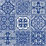 Mosaic tile with sardine decor seamless vector pattern. Lisbon St Antonio traditional portugese creamic home decor. royalty free illustration