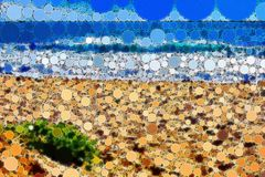 Mosaic tiled beach scene with fine detail. Abstract beach landscape with fine detail and circular tile features Royalty Free Stock Photo