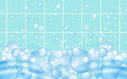 Mosaic tiles background with soap bubbles floating. Bathroom or kitchen cleaners ads. Vector vector illustration