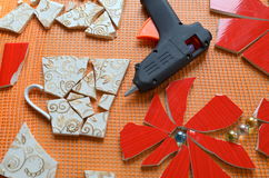 Mosaic tiles with bat Stock Photo