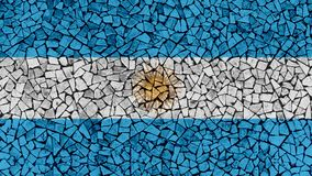 Mosaic Tiles Painting of Argentina Flag. Background Texture royalty free stock image