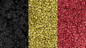 Mosaic Tiles Painting of Belgium Flag. Background Texture stock photo