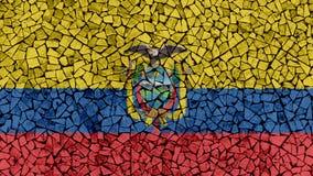 Mosaic Tiles Painting of Ecuador Flag. Background Texture royalty free stock photo