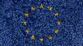 Mosaic Tiles Painting of EU Flag stock images