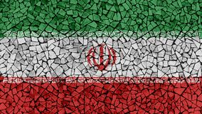 Mosaic Tiles Painting of Iran Flag. Background Texture stock photography