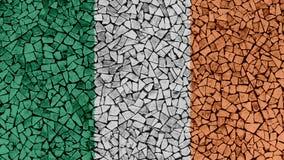 Mosaic Tiles Painting of Ireland Flag. Background Texture stock image