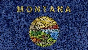 Mosaic Tiles Painting of Montana Flag stock illustration