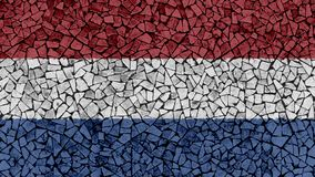Mosaic Tiles Painting of Netherlands Flag. Background Texture royalty free stock photo
