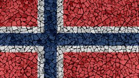 Mosaic Tiles Painting of Norway Flag. Background Texture stock photography