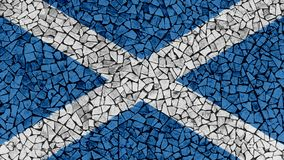 Mosaic Tiles Painting of Scotland Flag. Background Texture stock image