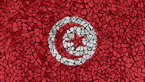 Mosaic Tiles Painting of Tunisia Flag. Background Texture royalty free stock image