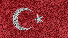 Mosaic Tiles Painting of Turkey Flag. Background Texture stock photos