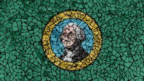 Mosaic Tiles Painting of Washington Flag royalty free stock image