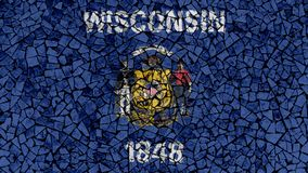 Mosaic Tiles Painting of Wisconsin Flag. US State Background royalty free stock photography