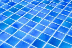 Mosaic tiles wall and floor in azure blue Stock Photo