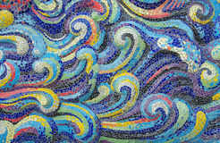 Mosaic tiles wave of Colorful  for background Stock Photos