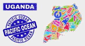 Mosaic Tools Uganda Map and Distress Pacific Ocean Stamp. Mosaic industrial Uganda map and Pacific Ocean watermark. Uganda map collage composed with random stock illustration