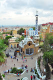 Mosaic tower in Park Guell, Barcelona, Spain. Tourist attraction spot: the observation point in Park Guell, Barcelona, Spain, high level view on gate house with Stock Images