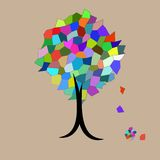 Mosaic Tree falling leaves Stock Images
