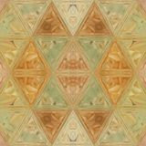 Ornamental mosaic of triangles in teal and orange