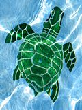 Mosaic Turtle. Mosaic green sea turtle on the bottom of a clear swimming pool Royalty Free Stock Images