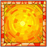 Mosaic vector illustration of sunshine. Mosaic illustration of sun with orange light stained glass window with frame Stock Image