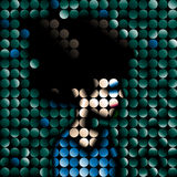 Mosaic vector portrait. Portrait of a lady made from circles stock illustration